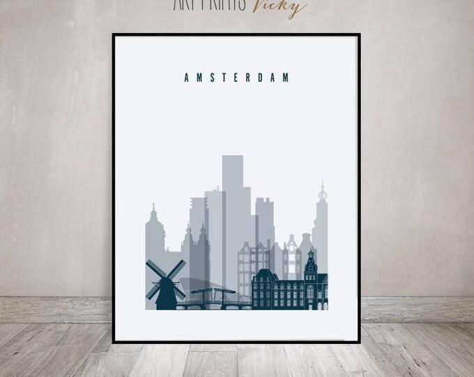 Amsterdam skyline art print, Amsterdam Poster, Travel decor, Wall art, City poster, Netherlands art, Gift, Home Decor, ArtPrintsVicky