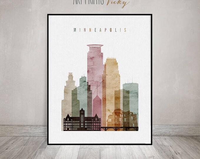 Minneapolis art print, Minneapolis skyline, watercolor poster, Travel decor, Wall art, Minnesota, Travel gift, home decor, ArtPrintsVicky