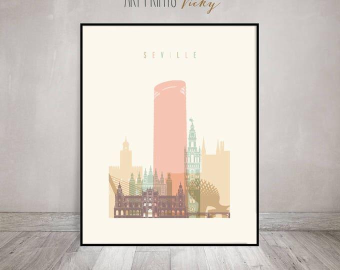 Seville print, poster, Seville skyline, Seville Wall art, Travel decor, Spain, City poster, Travel gift, Home Decor, ArtPrintsVicky