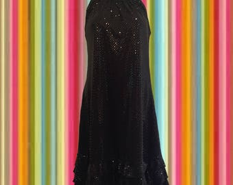 Vintage 90's Black on Black Dress • Sparkly Dots • Great Neckline, Perfect Hang • Ruffled Hemline • The Perfect Party Dress!