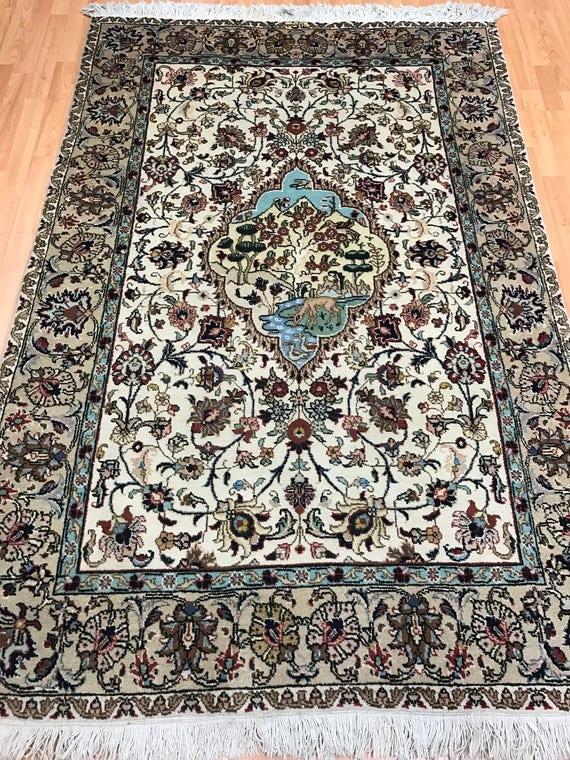 "4'4"" x 6'7"" Persian Tabriz Oriental Rug - 1960s - Hand Made - 100% Wool"