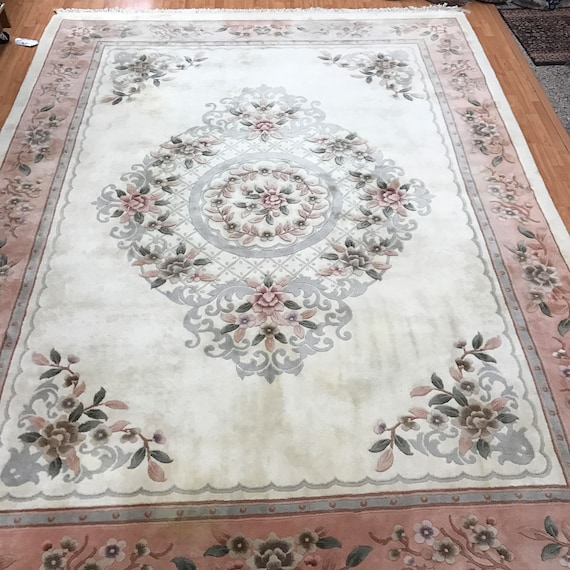 """8'4"""" x 11' Chinese Aubusson Oriental Rug - Full Pile - Hand Made - 100% Wool"""