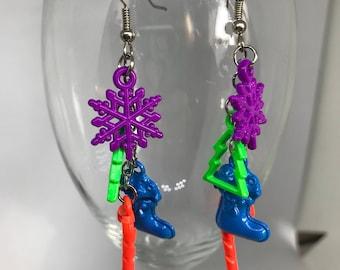 Neon colored Christmas themed fishhook dangle earrings