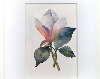 Magnolia original painting, red and white flower watercolor, with mat, 8 x 10 inches, floral home decor wall art