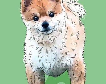Custom pet portrait from photo custom dog portrait custom dog painting from photo custom pet painting digital dog portrait illustration gift
