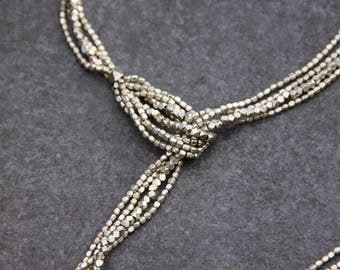 Bohemian Silver Necklace - Adjustable Bead Necklace - Long Knotted Necklace - Extra Long Boho Necklace - Boho Modern Necklace