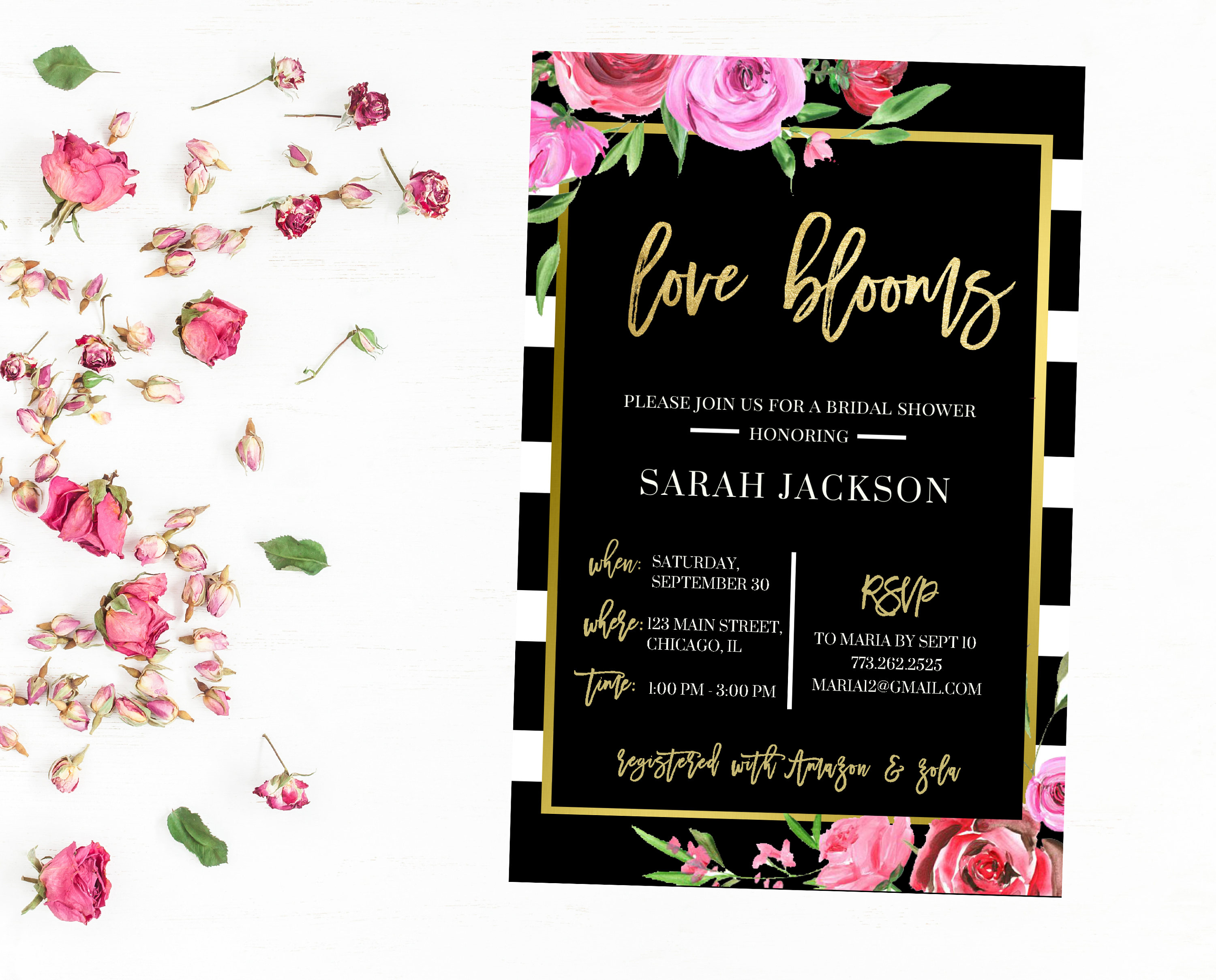 Black and white stripes watercolor floral bridal shower invitation black and white stripes watercolor floral bridal shower invitation roses pink red filmwisefo