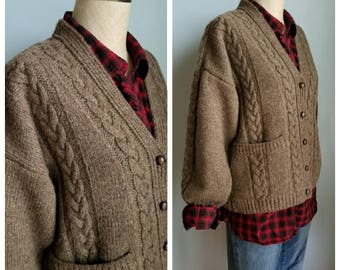vintage brown cable knit cardigan sweater