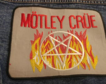 MOTLEY CRUE dead stock 1980's woven iron-on patch in a larger size with pentacle