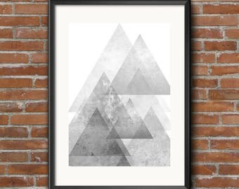 Layers, Geometric Poster, Modern Art Print, Minimalist Poster, Monochrome Grey, Minimal Wall Decor, Triangle Poster, Living Space, Abstract