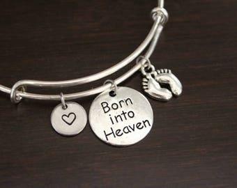 Born Into Heaven Bangle-Born Into Heaven Jewelry-Baby Memorial Bangle-Baby Memorial Jewelry-Miscarriage Bangle-Miscarriage Jewelry-I/B/H