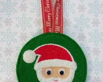 Personalised Christmas tree decoration, Santa Christmas tree decoration, personalised Father Christmas tree ornament,