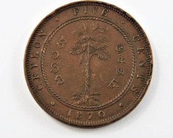 Ceylon 1870 5 Cents Coin.