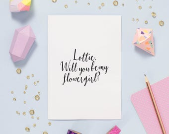 Will You be My Flowergirl Card - Flower Girl Card - Bridesmaid Card - Page Boy Card - Card For Flowergirl