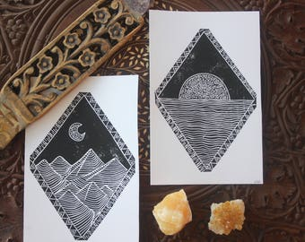 Handprinted Block Print. Mountain Print. Ocean Print. Black and White Block Print.
