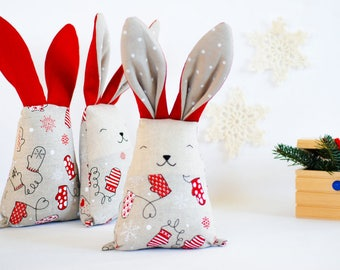 Christmas rabbit toy, fabric Christmas gift, baby xmas toys, red white toys, baby boy first Christmas gift, mantle holiday decor