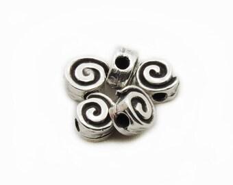 Snail Beads, 10mm Snail  Beads, Antiqued Snail Beads, Metal Snail Beads, 5 pcs Snail Beads, Jewelry Making, Craft Supplies
