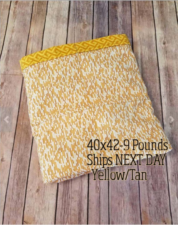 Yellow, Greek, 9 Pound, WEIGHTED BLANKET, Ready To Ship, 9 Pounds, 40x42 for Autism, Sensory, ADHD, Calming