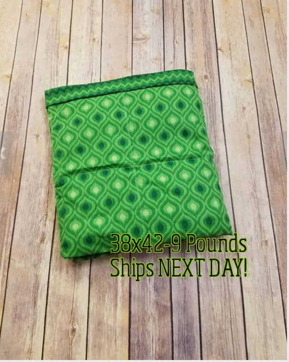 Green Moroccan, 9 Pound, WEIGHTED BLANKET, Ready To Ship, 9 pounds, 38x42 for Autism, Sensory, Calming