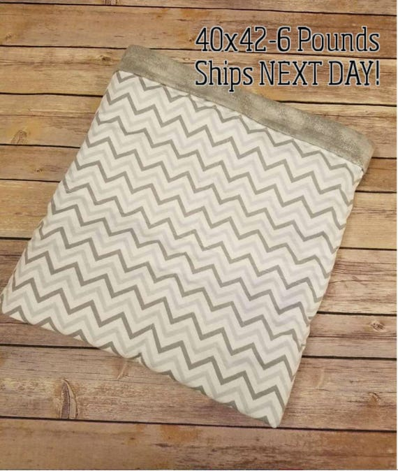 Gray Chevron, 6 Pound, WEIGHTED BLANKET, Ready To Ship, 6 Pounds, 40x42 for Autism, Sensory, ADHD, Calming
