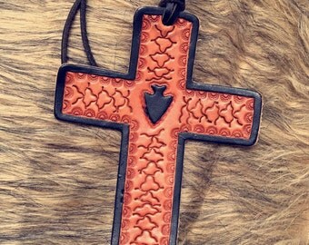 Tooled Leather Cross Rearview Hanger