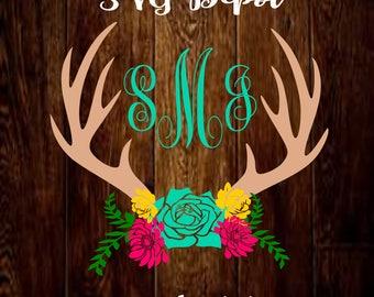 Floral Antler Monogram Svg group, floral swag antlers svg file, flower digital file, daisy svg, rose svg, sunflower svg