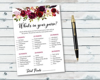 Floral What's in Your Purse Game, Bridal Shower Purse Game Printable, Floral Purse Raid Game, Bridal Shower Printable Game