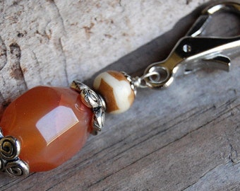 Gemstone Key Charm Genuine Carnelian and Bone