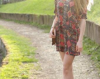 80s dress in Aztec print