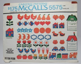 Vintage Iron On Transfers, Full Color Transfers, McCall's #5575, 1970's