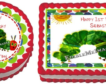 VERY HUNGRY CATERPILLAR  Birthday Party Edible Image Cake Topper Cupcake Personalized Custom Made