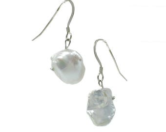 Keshi Pearl Handmade Silver Earrings