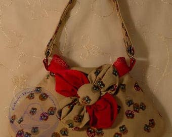 Beige Owl Fabric Small Top Handle Handbag with Flower Patterned Decoration, Button, Red, Fashion, Animal, Cotton, Floral, Bird Purse.