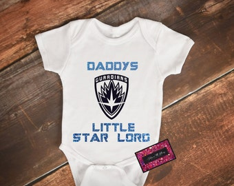 Glitter Baby Onesie - Guardians Of The Galaxy (Daddys Little Star Lord)