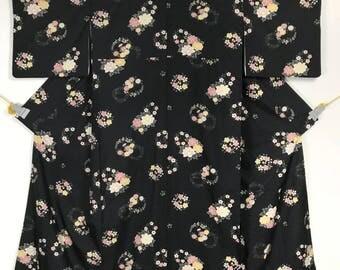 KM414 Vintage Japanese Kimono Womens Black Flower