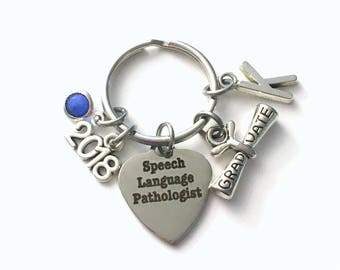 Graduation Gift for Speech Language Pathologist Keychain, 2018 Speech Therapy Key Chain, Initial Birthstone Grad Present Keyring 2019 SLP