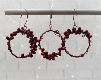 Yule Christmas Pomegranate Wreath Ornaments, Set of 3