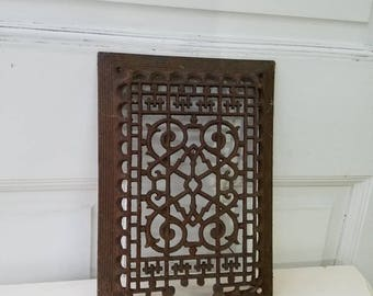 Antique Vent Cover, Vintage Cast Iron Grate, Register Cover, Victorian Style Ornate Register, Architecture Salvage, Floor Grate
