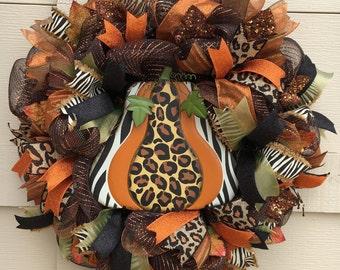 Fall wreath,Autumn wreath, Pumpkin wreath, Animal print wreath,Orange and brown wreath,Thanksgiving wreath,leopard wreath, zebra wreath,