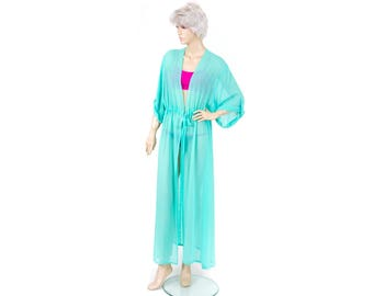 Chiffon  kimono Kaftan dress in turquoise , light weight elegant beach cover up,women's beach kaftan dress