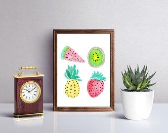 Fruit Watercolor Print, Tropical Fruit Watercolor Print