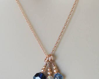 Rose Gold, Pearl and Crystal Pendant Necklace - Silver Freshwater Pearl and Blue Swarovski Crystal Drops on a 14K Rose Gold Filled Chain