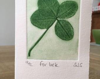 Hand Printed Clover Card, Handmade Clover Card, Four-leaf clover, Single Printed Clover card, Individual clover card, four-leaf clover Card