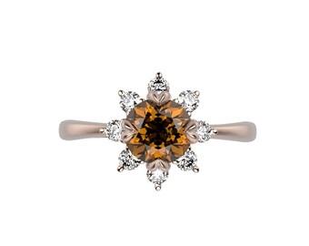 14k Rose Gold Citrine Ring Rose Gold Engagement Ring Gemstone Citrine Diamond Engagement Ring Citrine Engagement Ring November Birthstone