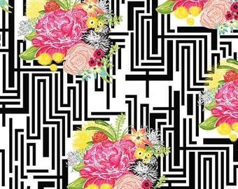 ON SALE - Modern Eclectic - Michi Floral Black - by Khristian Howell - Blend Fabrics - 100% Premium Cotton Fabric