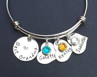 Gift for Grandma - Handstamped Mom or Grandma or Aunt Bracelet - Bangle Bracelet - Grandma Gift - Grandma Jewelry - Best Grandma Bracelet