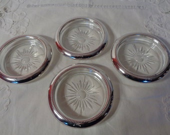 Set of Four Glass and EP Steel Coasters