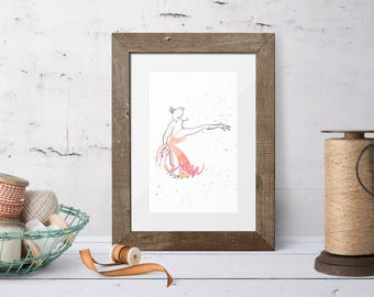 Printable, dancer art, digital prints, watercolour, ballet, gift for women, home decor,  instant download