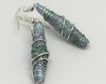 Beautiful, mint green, shades of silver, drop earrings with handmade Tyvek beads.
