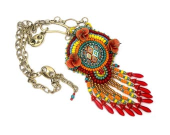 Necklace pendant is embroidered, multicolor Golden geometric, ethnic, hippie chic